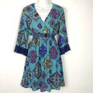 Anthropologie // sz S blue vneck dress mini